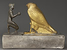 Statuette of Taharqa and the Falcon God Hemen